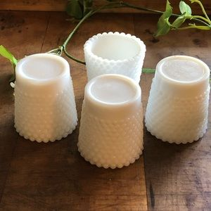 Vintage Accents - Vintage (4) hobnail milkglass votive holders, euc